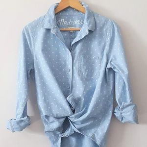 MADEWELL Chambray Polka Dot Button-Up Top Medium